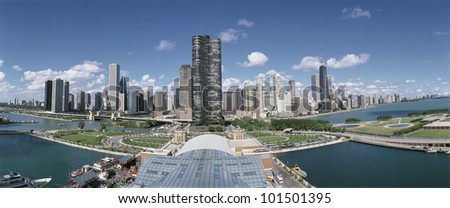 This is a view looking down on the Chicago skyline in the morning. It is summer. - stock photo