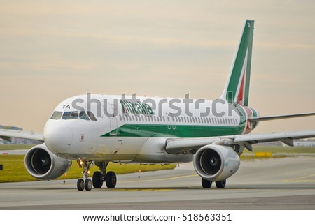 This is a view of Alitalia plane Airbus A320 registered as EI-DTA on the Warsaw Chopin Airport. November 4, 2016. Warsaw, Poland.