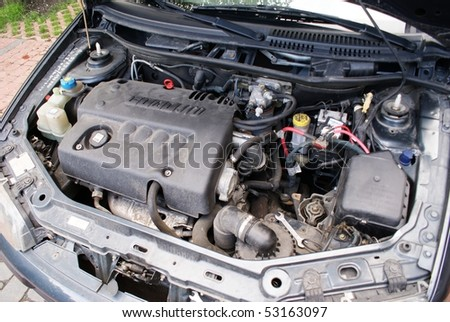 This is a view of engine of car - stock photo