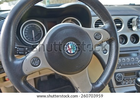 This is a view of luxury car Alfa Romeo 159 interior details. February 28, 2015. Lublin, Poland. - stock photo