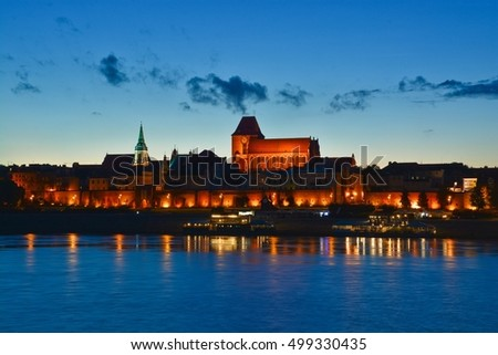This is a view of old town of Torun at night. July 18, 2016. Torun, Poland