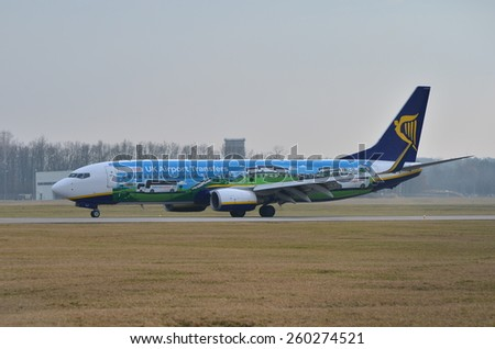 This is a view of Ryanair plane Boeing 737 8AS(WL) in special painting on the Lublin Airport. March 10, 2015. Lublin Airport in Swidnik, Poland.