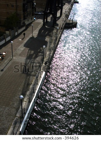 This is a view of some water in London's Docklands.