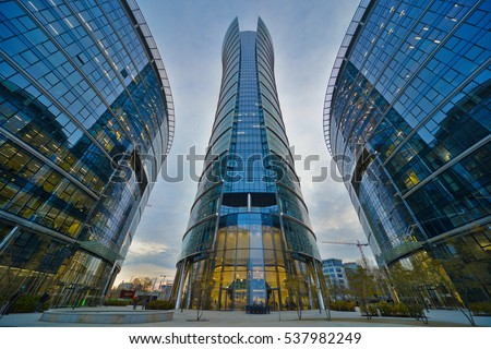 This is a view of Warsaw Spire - the tallest office building in Warsaw. November 4, 2016. Warsaw, Poland.