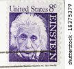 This is a vintage 1964  Stamp Albert Einstein - stock photo