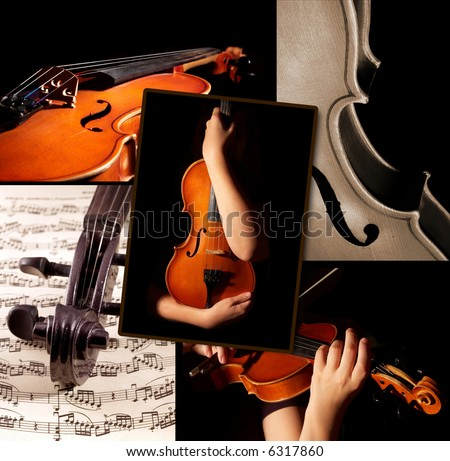 This is a violin themed collage.  It illustrates love for good classic music - stock photo