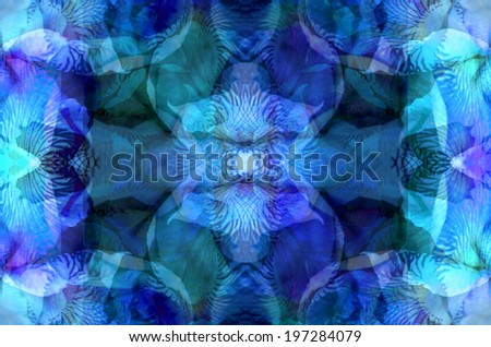 This is a vivid mantra-like image based on leaf and botanical forms.  It's strong, dynamic, and has a powerful visual impact, and can be used as a background or stand-alone image.   - stock photo