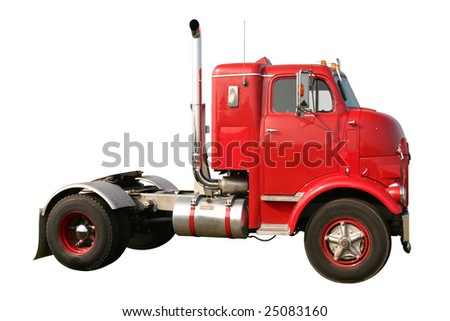 This is an early historic 1950s retro red single axle diesel truck isolated on white. - stock photo