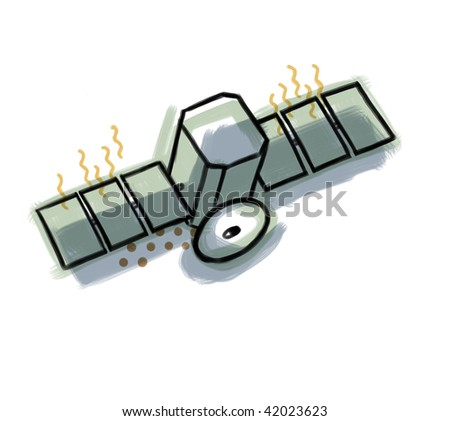This is an illustration of a satellite. - stock photo