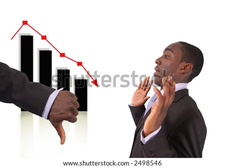 "This is an image a hand with thumbs down to indicate that the businessman is responsible for the fall in the graph. Related themes ""Stock losses blame"", ""Bad Investment"" etc... - stock photo"