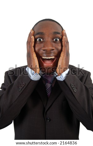 This is an image of a business man excited. - stock photo