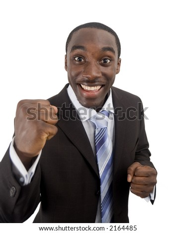 "This is an image of a business man excited about a successful ""deal"". This image can be used to represent anything that implies happiness, excited, sucess etc.. - stock photo"