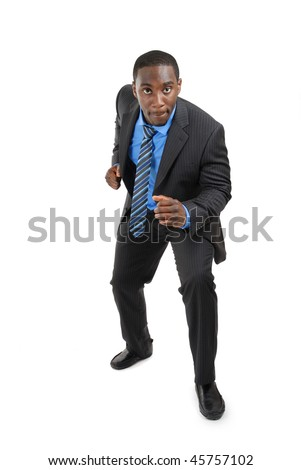 This is an image of a business man in ready stance - stock photo
