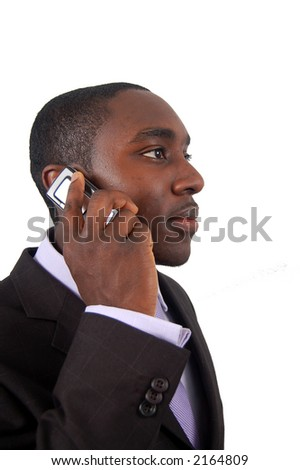 This is an image of a business man making a phone call. - stock photo