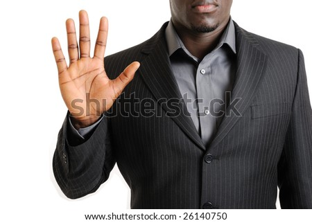 This is an image of a business man showing the palm of his hand. - stock photo