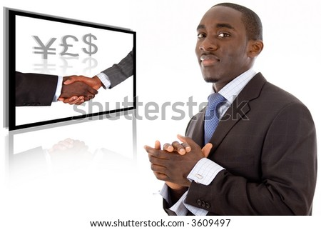 This is an image of a business man smiling due to a successful deal. The image in the background is conceptual for business success. - stock photo