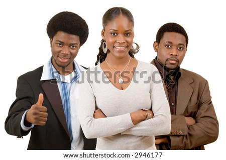 "This is an image of a business team consisting of two businessmen and one casually dressed businesswoman. This image represent ""Ready for Business"" themes"