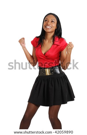 This is an image of a business woman celebrating. - stock photo