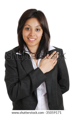 This is an image of a business woman  pledging with her hand on chest