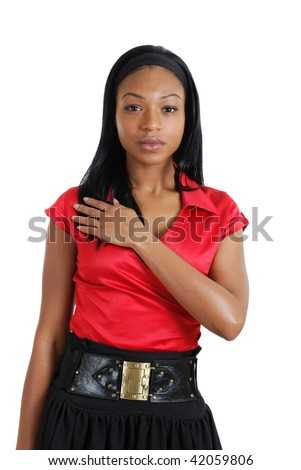 This is an image of a business woman with her hand on chest. - stock photo