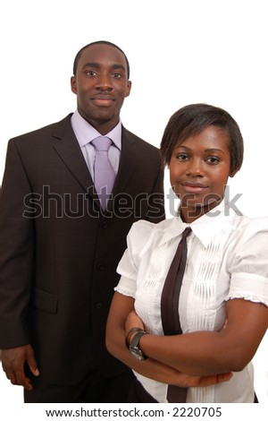 This is an image of a businessman and a businesswoman, standing as a team. - stock photo