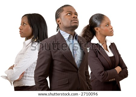 "This is an image of a businessman and two businesswomen pondering/thinking. This image can be used to represent ""Thought"" themes and ""Planning"" themes."