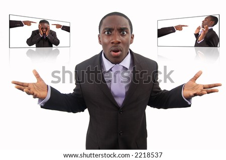 "This is an image of a businessman fighting ""Self Blame"" . This image can be used to represent anything to do with ""Blame"" and ""Protest"". - stock photo"