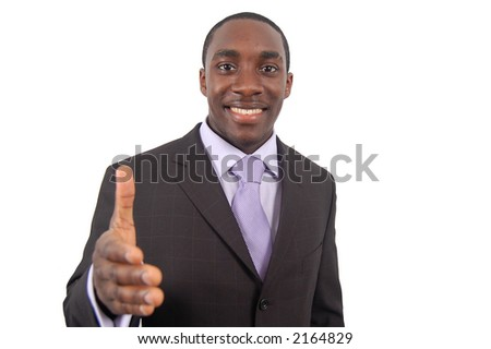 This is an image of a businessman, happily offering a handshake. This represents great work, you got the job and your the best etc... - stock photo