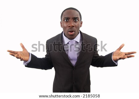 "This is an image of a businessman making a statement of anger. This image can be used to represent ""Protest"", ""Anger"" etc.. - stock photo"