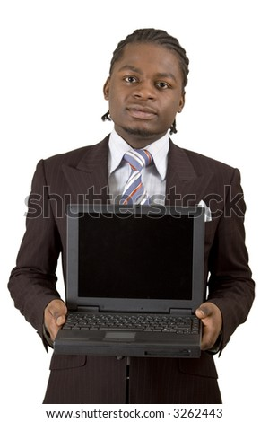 This is an image of a businessman presenting a laptop. Designers can embed an image into the blank screen. This image can represents advertising themes.