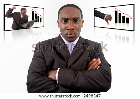 "This is an image of a businessman, who is very angry due to a loss in sales. This conceptual image can be used to represent ""Business Anger"" and ""Business Failure"" themes. - stock photo"