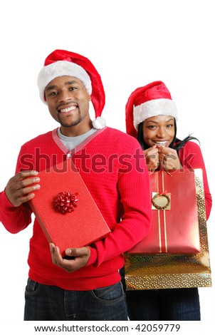 This is an image of a christmas couple (concept) with gifts.