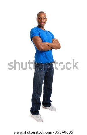 This is an image of a confident student standing with arms crossed.
