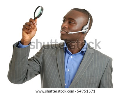 This is an image of a customer support operator holding magnifying glass.