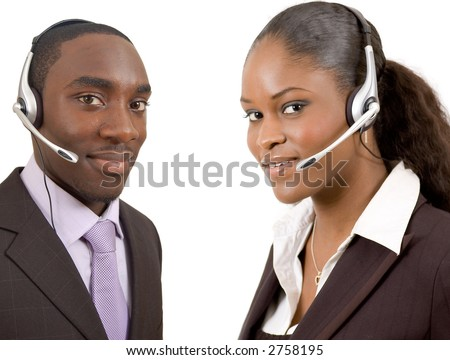 This is an image of a male and female call operator. This image can be used for telecommunication and service themes. - stock photo