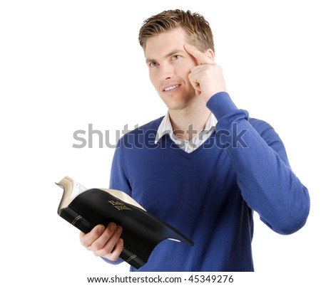 This is an image of a man reading the bible and thinking. - stock photo