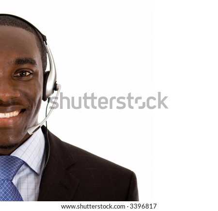 This is an image of a man with a microphone headset on. This image can be used for telecommunication and service themes. - stock photo