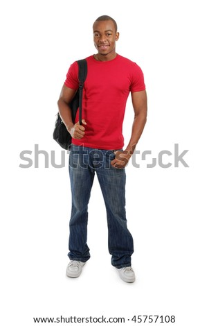 This is an image of a student with a bag.