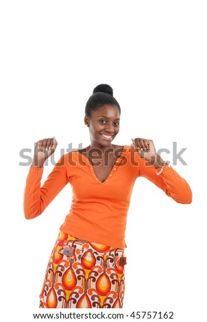 This is an image of a woman being excited. - stock photo