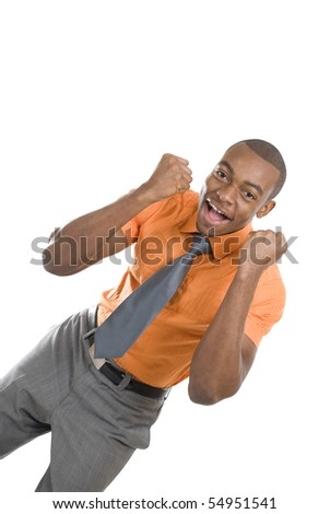 This is an image of an excited business man celebrating. - stock photo