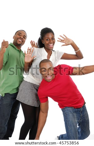 This is an image of an excited group of people.