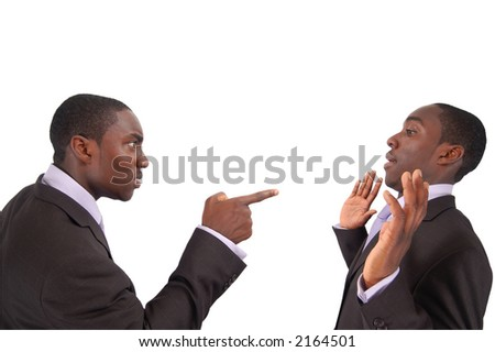 "This is an image of business man arguing against himself. This represents ""Self blame"", ""Accusation"", ""Fault"" etc.. - stock photo"