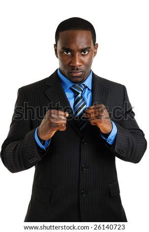 This is an image of business man posing with his fist. Ready concept - stock photo