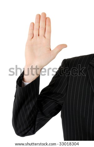 This is an image of business man with his hand up.