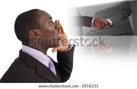 "This is an image of business man with his hands near his lips making ""The Call For Business"". This image can be used for announcement or business recruitment themes. - stock photo"