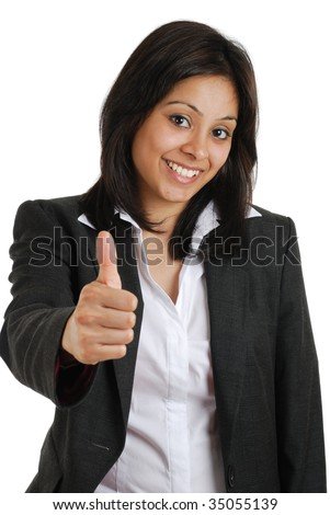 This is an image of business woman gesturing thumbs up