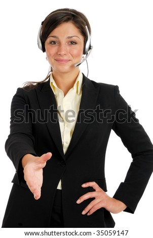 This is an image of business woman with headset offering a handshake.