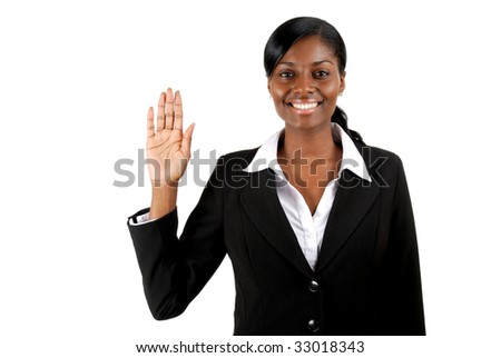 This is an image of business woman with her hand up. - stock photo