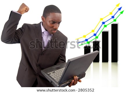 "This is an image of businessman venting his anger against the rise in the graph which has affect his Internet business. This can be used to represent themes such as ""Competitive Disadvantage""."