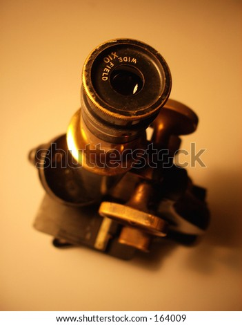 This is an image of microscope that is over 50 years old. - stock photo